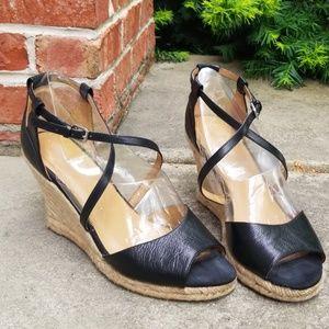 Black, size 10 Nine West wedge sandals.